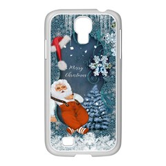 Funny Santa Claus With Snowman Samsung Galaxy S4 I9500/ I9505 Case (white) by FantasyWorld7