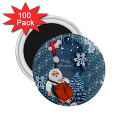 Funny Santa Claus With Snowman 2 25  Magnets (100 Pack)  by FantasyWorld7