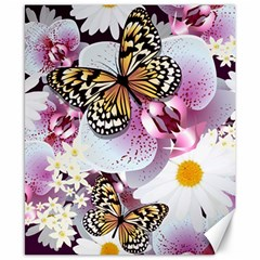 Butterflies With White And Purple Flowers  Canvas 8  X 10  by allthingseveryday