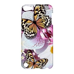 Butterflies With White And Purple Flowers  Apple Ipod Touch 5 Hardshell Case by allthingseveryday