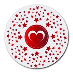 Monogram Heart Pattern Love Red Round Mousepads by Celenk