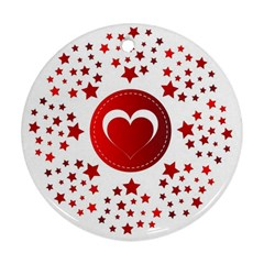 Monogram Heart Pattern Love Red Round Ornament (two Sides) by Celenk