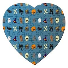 Halloween Cats Pumpkin Pattern Bat Jigsaw Puzzle (heart) by Celenk