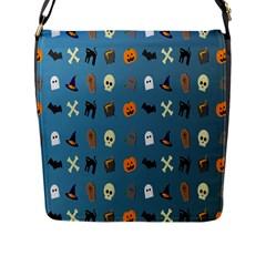 Halloween Cats Pumpkin Pattern Bat Flap Messenger Bag (l)  by Celenk