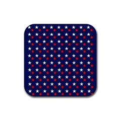 Patriotic Red White Blue Stars Blue Background Rubber Square Coaster (4 Pack)  by Celenk
