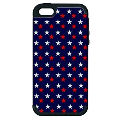 Patriotic Red White Blue Stars Blue Background Apple Iphone 5 Hardshell Case (pc+silicone) by Celenk