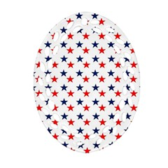Patriotic Red White Blue Stars Usa Oval Filigree Ornament (two Sides) by Celenk