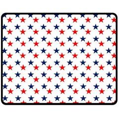 Patriotic Red White Blue Stars Usa Double Sided Fleece Blanket (medium)  by Celenk