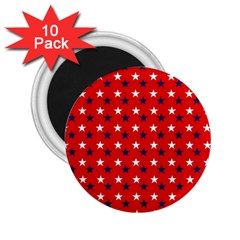 Patriotic Red White Blue Usa 2 25  Magnets (10 Pack)  by Celenk