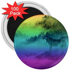 Yellowstone Wolfs Sunset 3  Magnets (100 Pack) by PodArtist