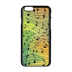 Music Notes Apple Iphone 6/6s Black Enamel Case by linceazul