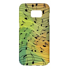 Music Notes Samsung Galaxy S7 Edge Hardshell Case by linceazul