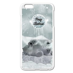 Cute Polar Bear Baby, Merry Christmas Apple Iphone 6 Plus/6s Plus Enamel White Case by FantasyWorld7