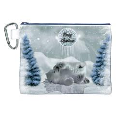 Cute Polar Bear Baby, Merry Christmas Canvas Cosmetic Bag (xxl) by FantasyWorld7