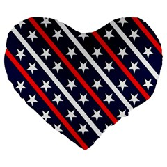 Patriotic Red White Blue Stars Large 19  Premium Flano Heart Shape Cushions by Celenk