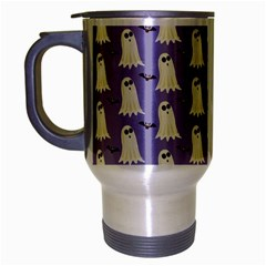 Bat And Ghost Halloween Lilac Paper Pattern Travel Mug (silver Gray) by Celenk