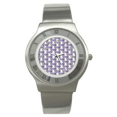 Bat And Ghost Halloween Lilac Paper Pattern Stainless Steel Watch by Celenk