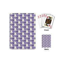Bat And Ghost Halloween Lilac Paper Pattern Playing Cards (mini)  by Celenk