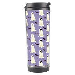 Bat And Ghost Halloween Lilac Paper Pattern Travel Tumbler by Celenk