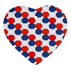 Geometric Design Red White Blue Heart Ornament (two Sides) by Celenk