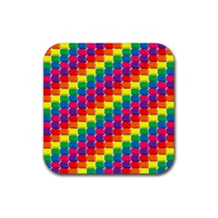 Rainbow 3d Cubes Red Orange Rubber Square Coaster (4 Pack)  by Celenk