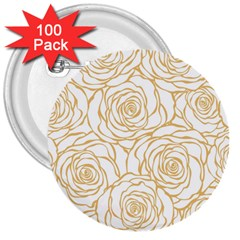 Yellow Peonies 3  Buttons (100 Pack)  by 8fugoso