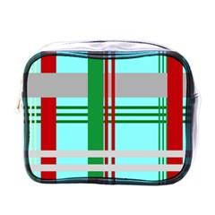 Christmas Plaid Backgrounds Plaid Mini Toiletries Bags by Celenk