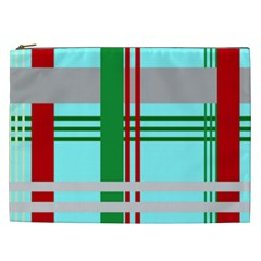 Christmas Plaid Backgrounds Plaid Cosmetic Bag (xxl)  by Celenk