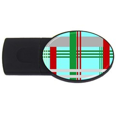 Christmas Plaid Backgrounds Plaid Usb Flash Drive Oval (4 Gb) by Celenk