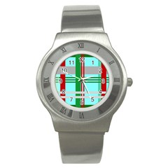 Christmas Plaid Backgrounds Plaid Stainless Steel Watch by Celenk