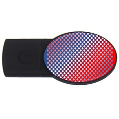 Dots Red White Blue Gradient Usb Flash Drive Oval (4 Gb) by Celenk
