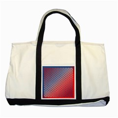 Dots Red White Blue Gradient Two Tone Tote Bag by Celenk