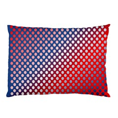 Dots Red White Blue Gradient Pillow Case (two Sides) by Celenk