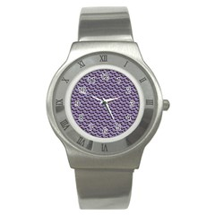 Bat Halloween Lilac Paper Pattern Stainless Steel Watch by Celenk