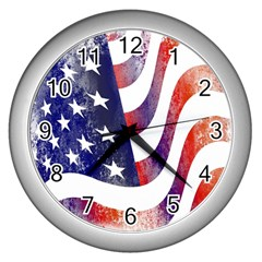 Usa Flag America American Wall Clocks (silver)  by Celenk