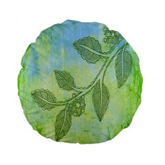 Green Leaves Background Scrapbook Standard 15  Premium Flano Round Cushions by Celenk