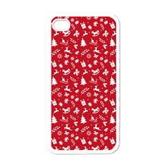 Red Christmas Pattern Apple Iphone 4 Case (white) by patternstudio