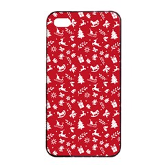 Red Christmas Pattern Apple Iphone 4/4s Seamless Case (black) by patternstudio