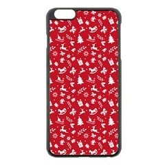 Red Christmas Pattern Apple Iphone 6 Plus/6s Plus Black Enamel Case by patternstudio