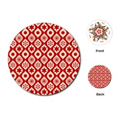 Ornate Christmas Decor Pattern Playing Cards (round)  by patternstudio