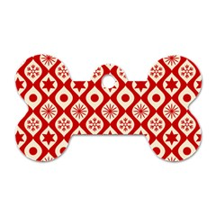 Ornate Christmas Decor Pattern Dog Tag Bone (one Side) by patternstudio
