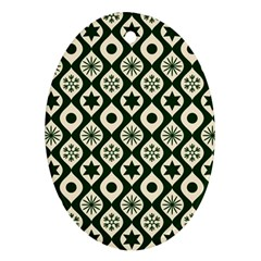 Green Ornate Christmas Pattern Ornament (oval) by patternstudio
