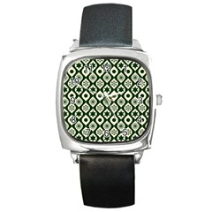 Green Ornate Christmas Pattern Square Metal Watch by patternstudio