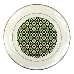 Green Ornate Christmas Pattern Porcelain Plates by patternstudio