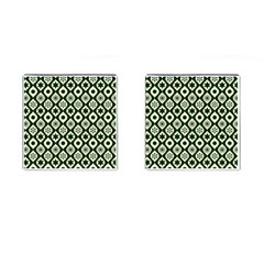 Green Ornate Christmas Pattern Cufflinks (square) by patternstudio