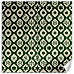 Green Ornate Christmas Pattern Canvas 12  X 12   by patternstudio