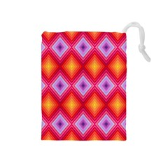 Texture Surface Orange Pink Drawstring Pouches (medium)  by Celenk