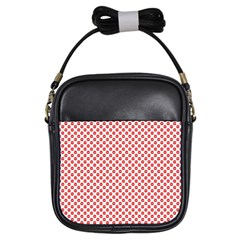 Sexy Red And White Polka Dot Girls Sling Bags by PodArtist