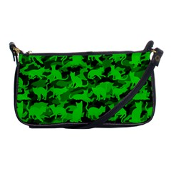 Bright Neon Green Catmouflage Shoulder Clutch Bags by PodArtist
