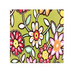Flowers Fabrics Floral Design Small Satin Scarf (square) by Celenk